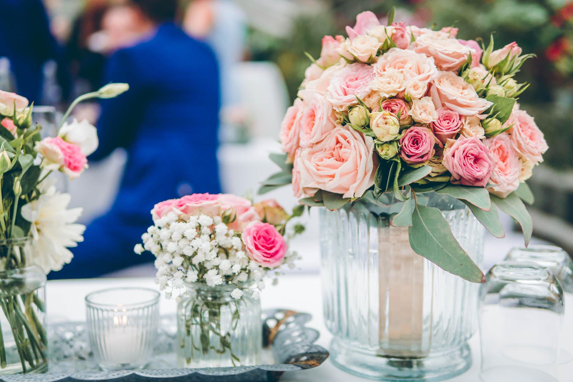 Blumen Deko Strauß auf Hochzeit in der Alten Gärtnerei in München