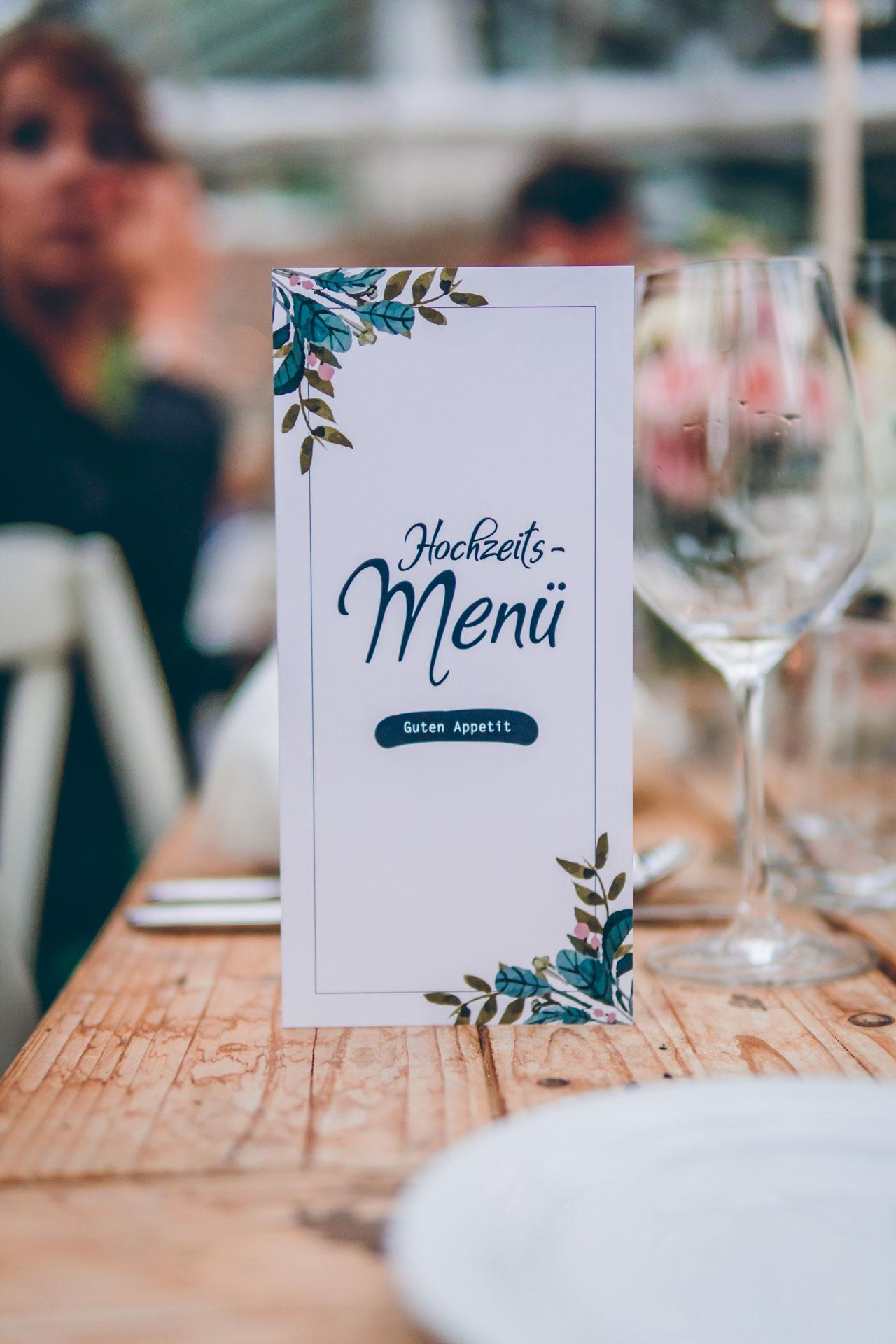 Hochzeitsmenü bei Dinner von der Alten Gärtnerei in München